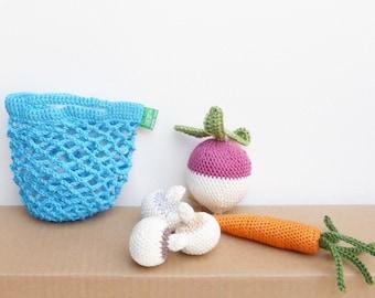 crocheted shopping bag, crochet bag, crochet vegetables, Mini turquoise blue bag, pretend play food, Handmade crocheted baby toddler toys