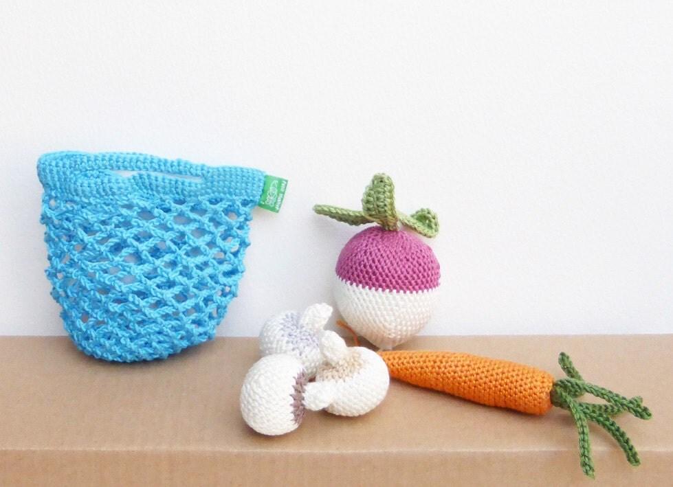 Crochet Vegetable Bag Pattern : SALE 25% OFF crocheted shopping bag crochet vegetables