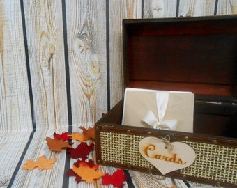 READY TO SHIP / Fall Wedding Card Box / Wedding Card Holder / Wedding Suitcase / Fall Wedding / Autumn Wedding / Card Holder