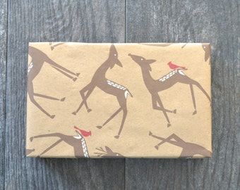 Woodland Deer Christmas Wrapping Paper - Woodland Holiday Collection