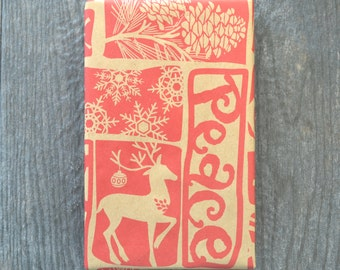 Woodcut Rustic Christmas Wrapping Paper, 2 x 10 Feet