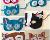 Kids Embellished Dress Up Masks Pretend Owl Fox and Deer Beaded