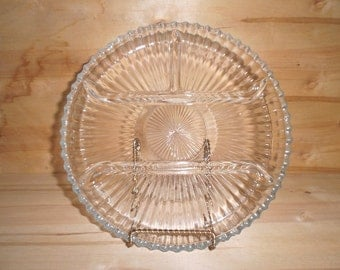 Glass Vertical Ribbed 4 part Relish Tray