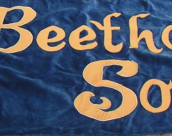 Vintage Fabric Banner/Sign,Beethoven Society of America,Music,Symphony,Collectible Banner,Textile,Retro