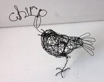 Unique Wire Bird Sculpture - CHIRP BIRD