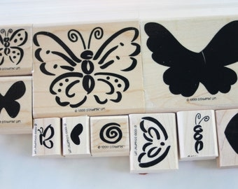 Definitely Decorative Rubber stamp Flutterby SET of 10 wood mounted Stampin Up gently used