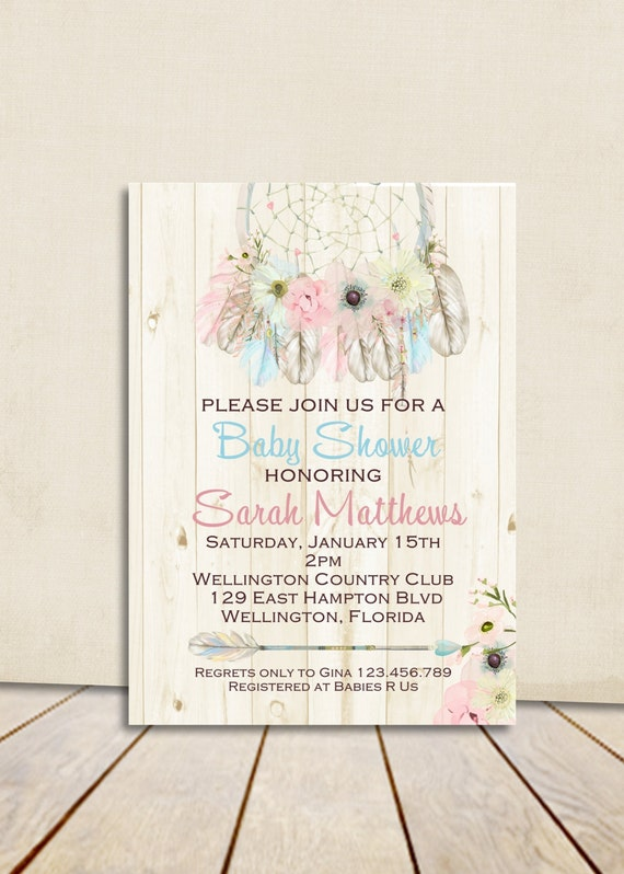 Boho Rustic Wood Dreamcatcher Baby Shower Invitation Blue Pink Boy or Girl Printable Shower Custom Invite