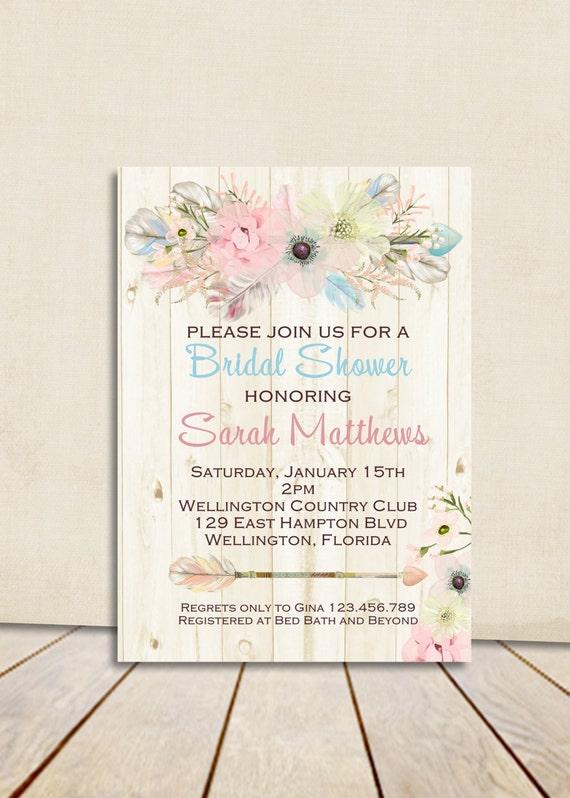 Boho Rustic Wood Bridal Shower Invitation