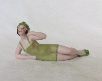 Fab Flapper Bathing Beauty Green Suit bisque porcelain Lady figurine Doll Germany Vintage