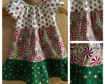 Christmas Peasant Dress, size 18 months