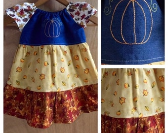 Fall Infant Peasant Dress, size 12 months
