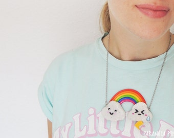 Rainbow Good and Bad Mood Lightning Clouds Necklace