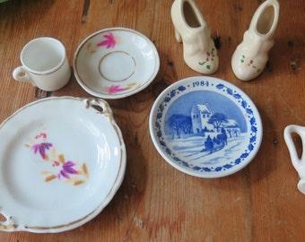 Vintage INSTANT 7-Piece Collection Tea Party Mini Saucers, Cup, Pitcher, & Shoe Figurines