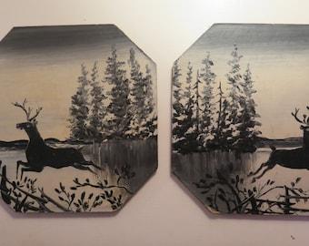 SALE///Vintage (2) Oil Hand Painted Deer Reliefs/Woodland Scene by Antone Oehler