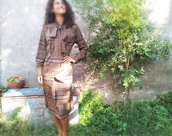 Vintage dress , BROWN, size S/M, boho chic, country chic, vestito vintage, 70s,woman