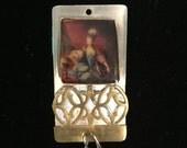 Vintage handmade one of a kind Marie Antoinette brass pendant