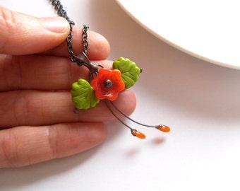 Bohemian necklace, flower pendant, copper wire jewelry, artistic pendant, best friend gift, contemporary, eccentric necklace, Bouquet