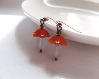 Glass beaded earrings, boho earrings, gift for girlfriend, orange glass beads, white glass beads, mushroom earrings, Mushroom