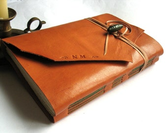 "Leather Sketchbook, Wedding Guest Book, Leather Journal Handmade, Gifts Under 50, Wedding gift. A5 size, to choose ""Meditatio"" series"