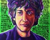 Neil Gaiman, Portraits of Writers, Neil Gaiman Fan Art, Neil Gaiman Portrait, Painting, Inspirational Art, Art Prints, Neil Gaiman Quotes