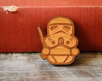 Storm Trooper Brooch, Laser Wood Cut