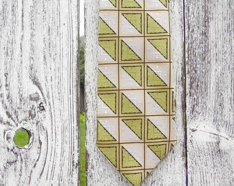 Bernhards Mr. Man Necktie, Vintage Mens Necktie, Lime, Black, White and Gold Tie, Polyester Necktie
