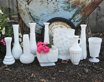 Milk Glass Vase Collection, Set of 9 for Weddings, Home Decor, Assorted Milk Glass Vase Collection,  Shabby Chic Wedding Vase Decor