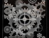 Custom piece for Yasmin - Steampunk Etched Art Glass Coaster Design II