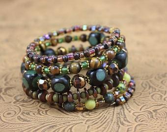 Memory Wire, Wrap Bracelet, Fall Bracelet, Multi Stone Bracelet