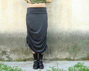 Women Skirt, Convertible Skirt, Adjustable Skirt, Maxi Skirt, Jersey skirt, Grey Skirt