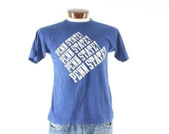 Vintage 70s Champion Blue Bar T Shirt Penn State Flocked Letters Tee College Short Sleeve Mens 1970s Knit Shirt Medium M