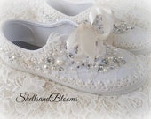 Wedding Bridal Sneakers Tennis Shoes - chic ivory or white lace - Rhinestone Pearls - eyelet trim - Shabby vintage inspired