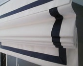 Grosgrain Ribbon Roman Shade  Up To 60'' W X 60''L -STANDARD Custom Made To Order