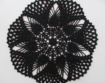 "Crochet Doily - Black - Pineapples - 10"" Diameter"