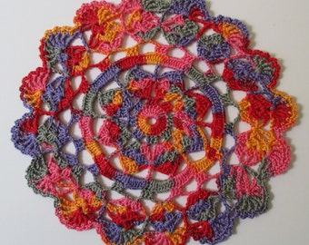 Crocheted Doily - Multi-Colored - 7 inch Diameter - Variegated