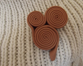 Leather brooch, swirly leather brooch, small brooch, leather embellishment, leather gift, gift