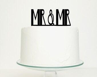 Gay Wedding / Civil Partnership Cake Topper - Mr & Mr Design for Men