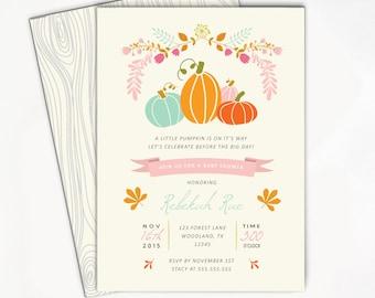 Pumpkin Baby Shower Invitation, Girl Baby Shower Invitation, Our Little Pumpkin, Fall Baby Shower Invitation