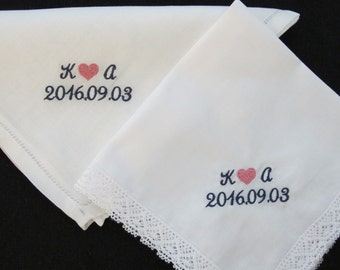 Embroidered Wedding Handkerchiefs exchanged between the Bride and Groom