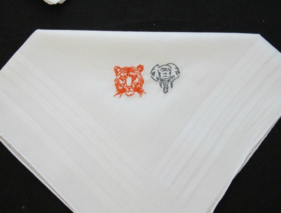 Embroidered Wedding Handkerchief for the two year anniversary gift - cotton