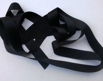 "Black 100% Silk Double-Faced Satin Ribbon - 18mm  (.7"" - about 3/4"") Ribbon - Sold by the Yard"