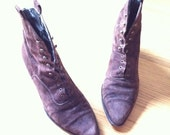 70s 80s Brown suede leather lace up boots US9 EUR40 Witchy Grunge Boho