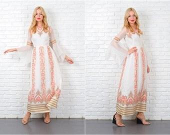 Vintage 70s Paisley Floral Dress Angel Slv ALFRED SHAHEEN Maxi Hippie Boho S 5428 vintage dress paisley dress angel sleeve dress maxi dress