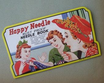 Happy Needle Book Reproduction 60 Needles Plus Threader Retro
