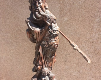 Antique Chinese Hand-Carved Wooden Guan Gong (Guan Yu) Statue