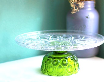 Vintage Glass Cake Stand / Chartreuse Green Cake Stand in 14""