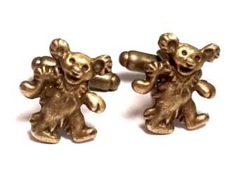 Bronze Dancing Bear Cufflinks, Men's Handcrafted Dead Head Music Grateful Teddy Cuff Links Guys Gift Wedding Groom Prom