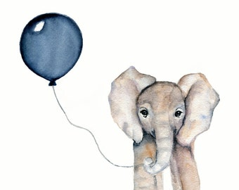 nursery art, boy's print, elephant illustration, boy's nursery decor, baby boy nursery, navy balloon, elephant watercolor, boy's room