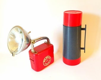 Vintage Alladdin Thermos Red Grey  Working Man's Thermos Insulated Coffee  Thermos Vintage Camping Hunting Thermos Glass Handled  Lid NOS