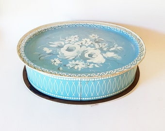 Antique Blue Oval Tin Large Sky Blue White Rose Pattern Metal Tin  Large Oval Cookie Bisquit Tin Box Button Box